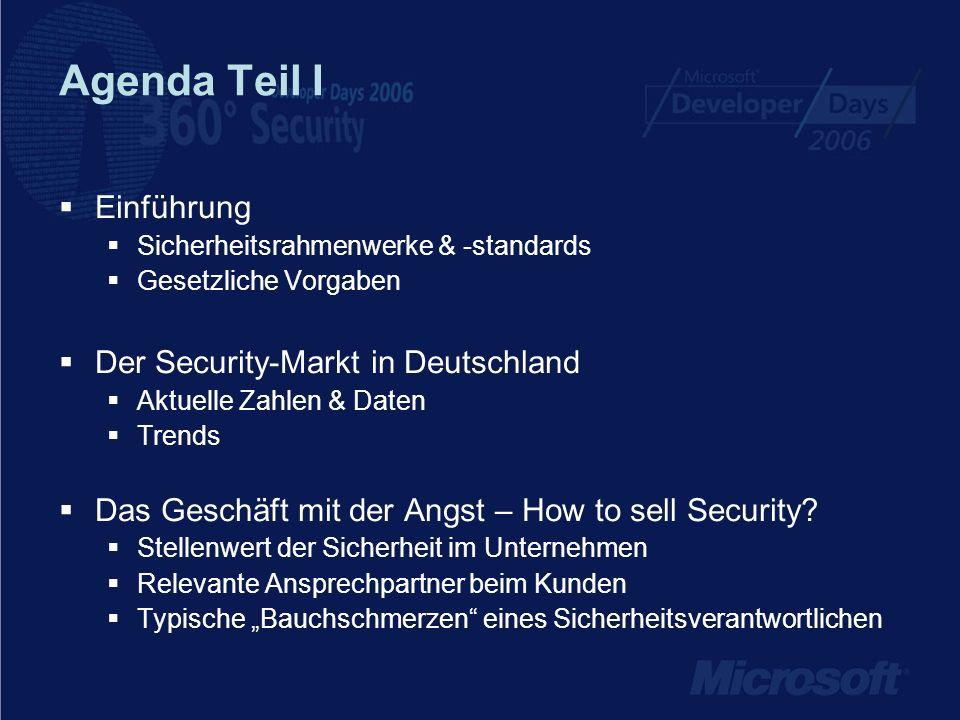 Agenda Teil I Einführung Der Security-Markt in Deutschland