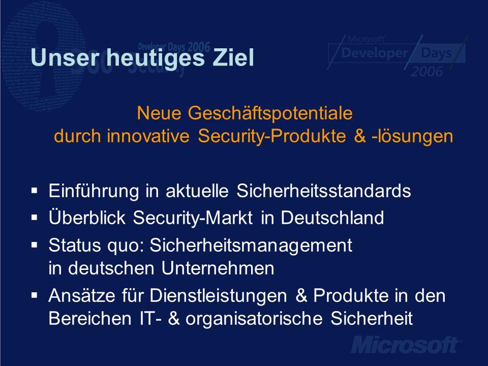 Unser heutiges Ziel Neue Geschäftspotentiale durch innovative Security-Produkte & -lösungen. Einführung in aktuelle Sicherheitsstandards.