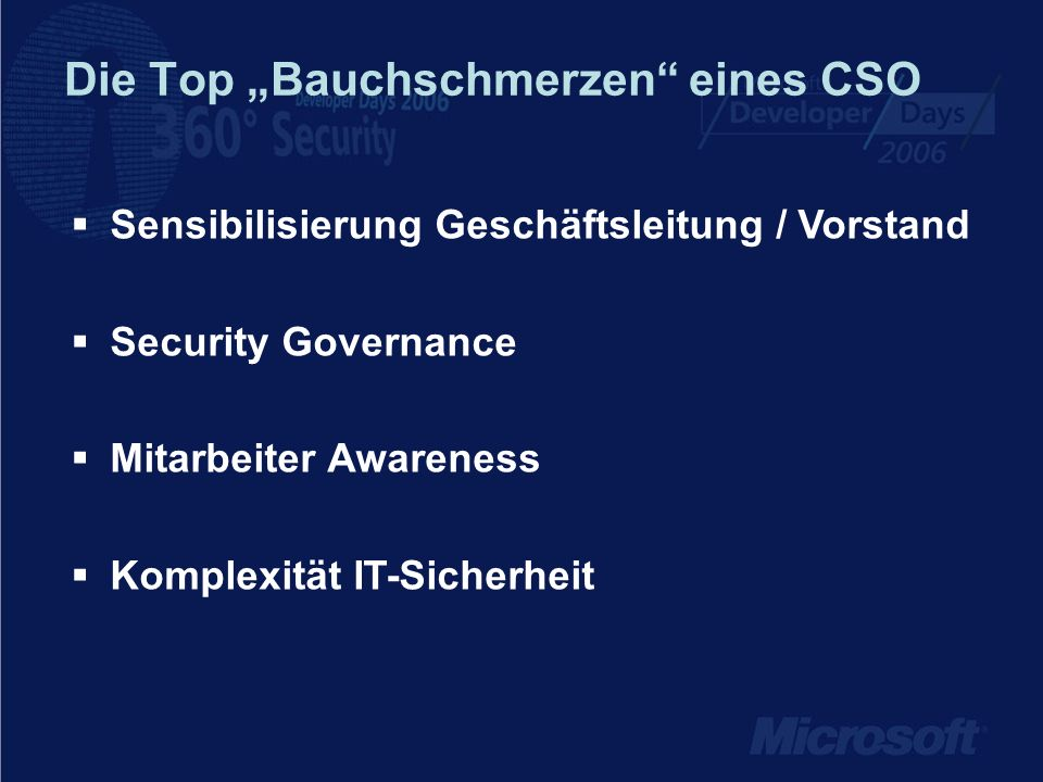 """Die Top """"Bauchschmerzen eines CSO"""