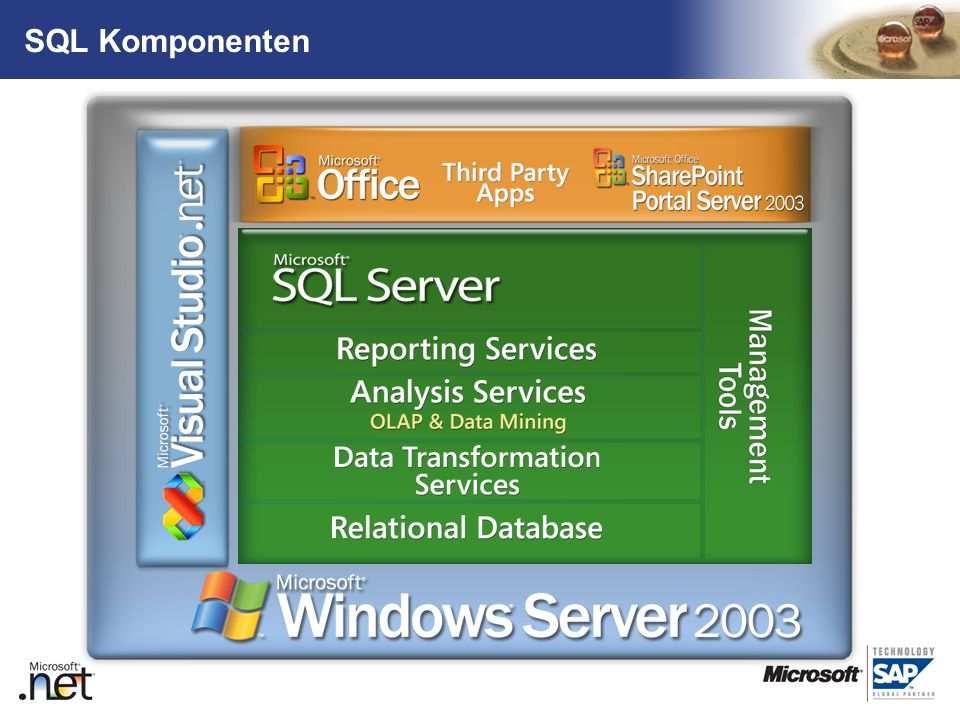 SQL Komponenten RDBMS Data Transformation Services Analysis Services