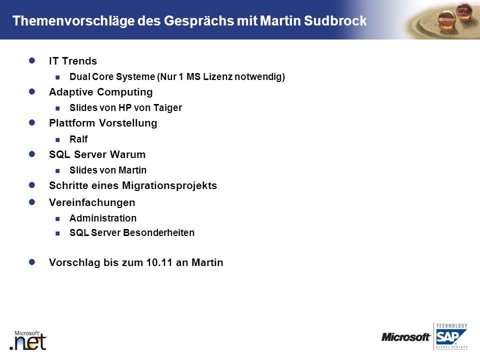 Themenvorschläge des Gesprächs mit Martin Sudbrock