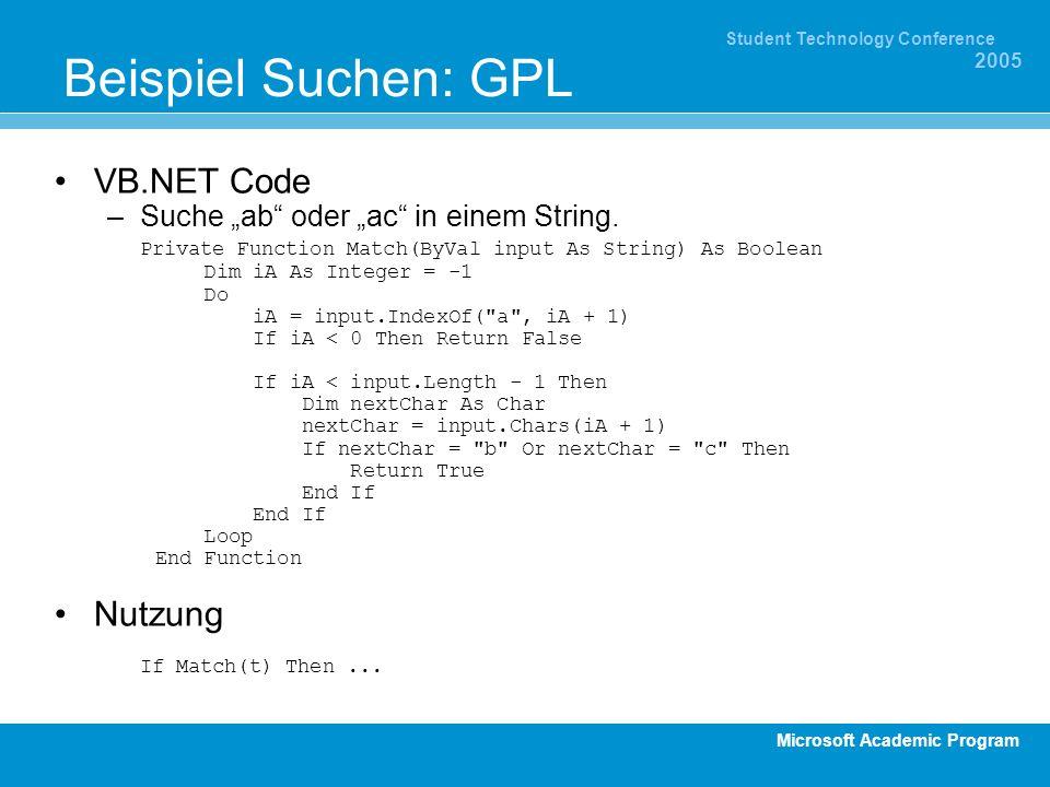Beispiel Suchen: GPL VB.NET Code Nutzung