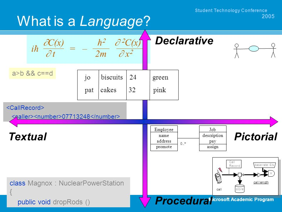 What is a Language Declarative Textual Pictorial Procedural