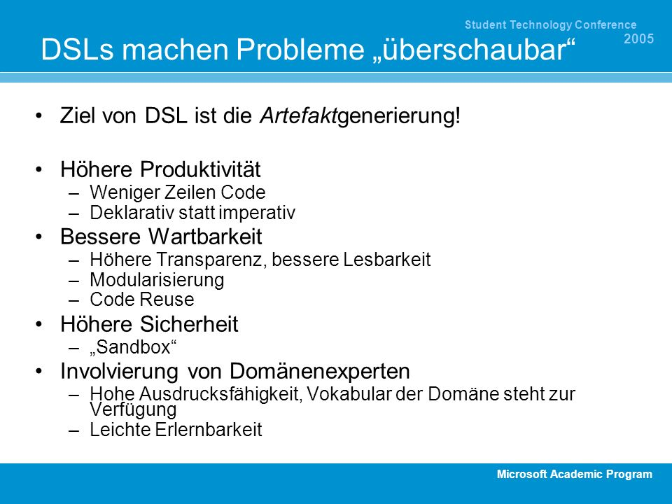 """DSLs machen Probleme """"überschaubar"""