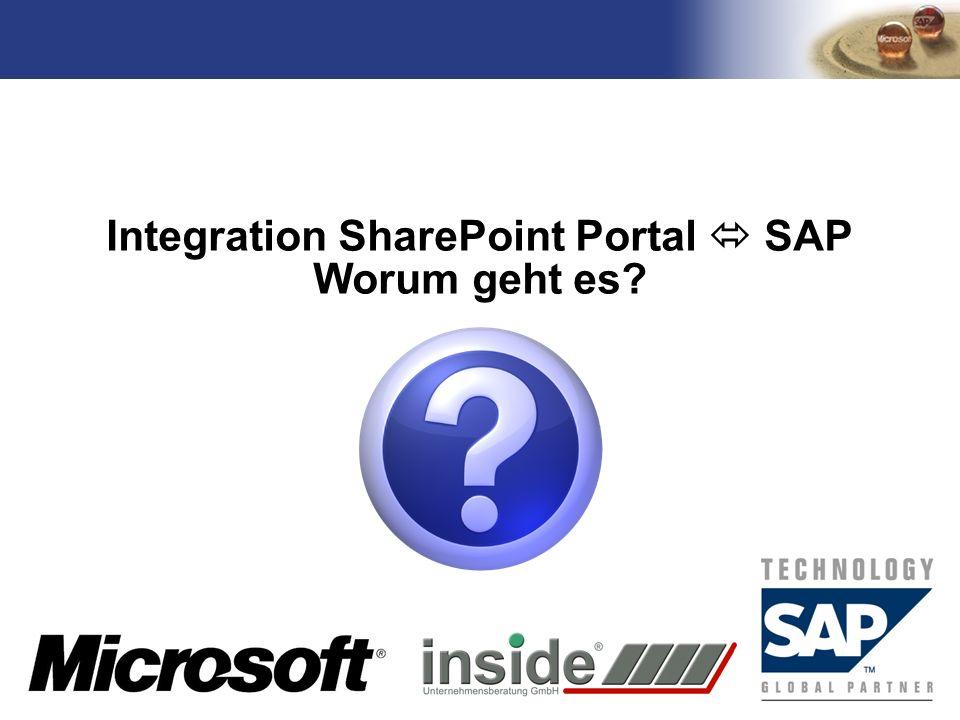 Integration SharePoint Portal  SAP Worum geht es