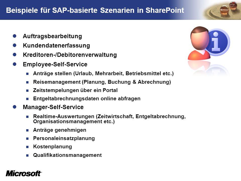 Beispiele für SAP-basierte Szenarien in SharePoint