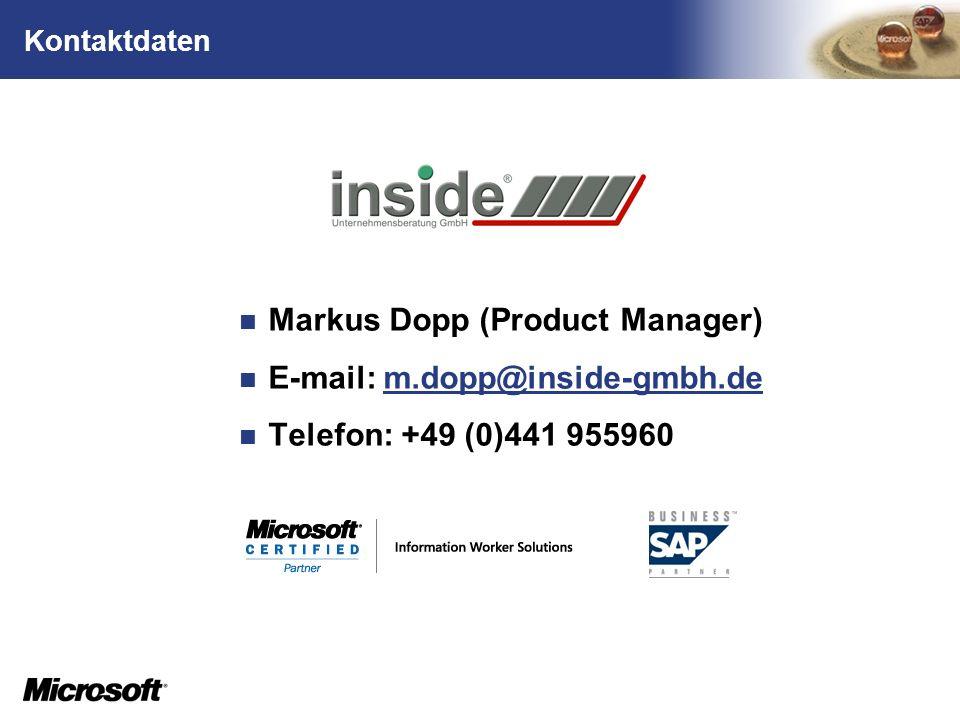 Markus Dopp (Product Manager) E-mail: m.dopp@inside-gmbh.de