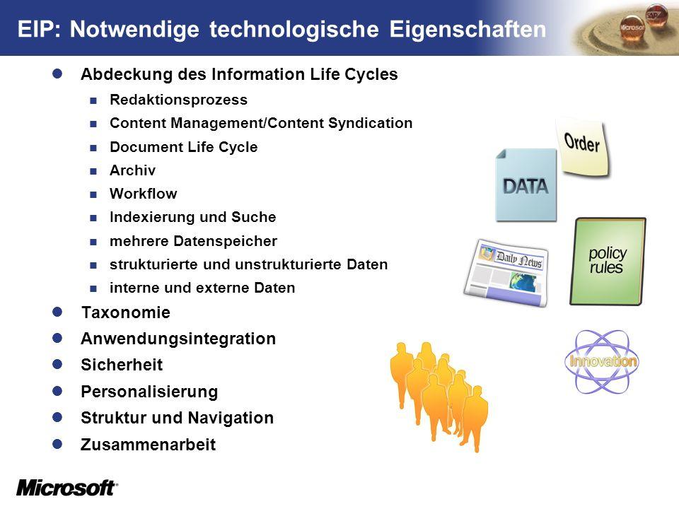 EIP: Notwendige technologische Eigenschaften
