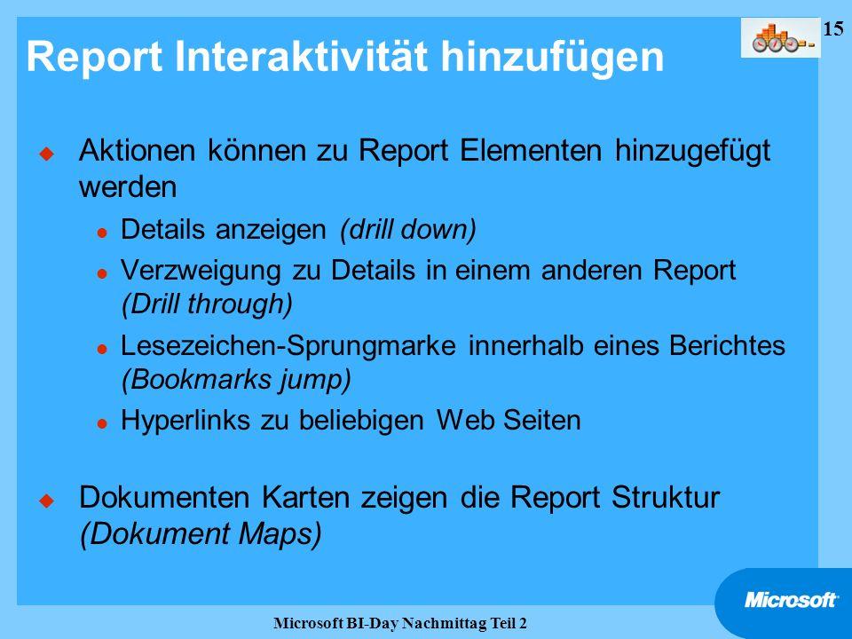 Report Interaktivität hinzufügen