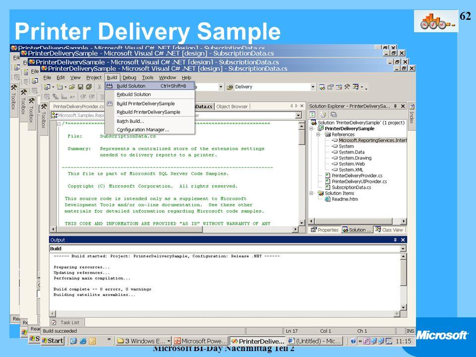 Printer Delivery Sample