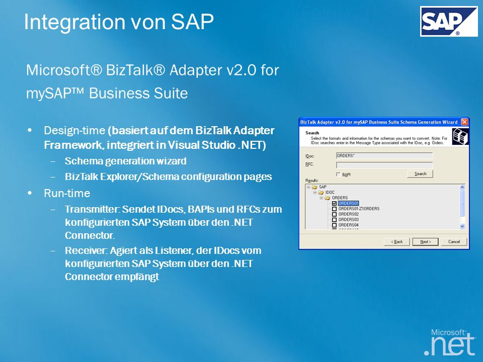 Integration von SAP Microsoft® BizTalk® Adapter v2.0 for
