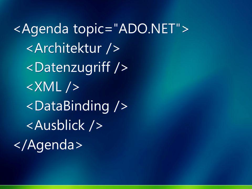<Agenda topic= ADO.NET >