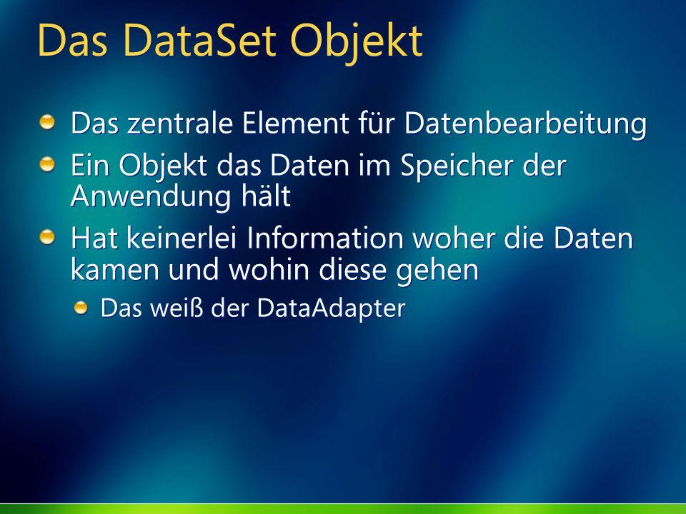 Das DataSet Objekt Das zentrale Element für Datenbearbeitung