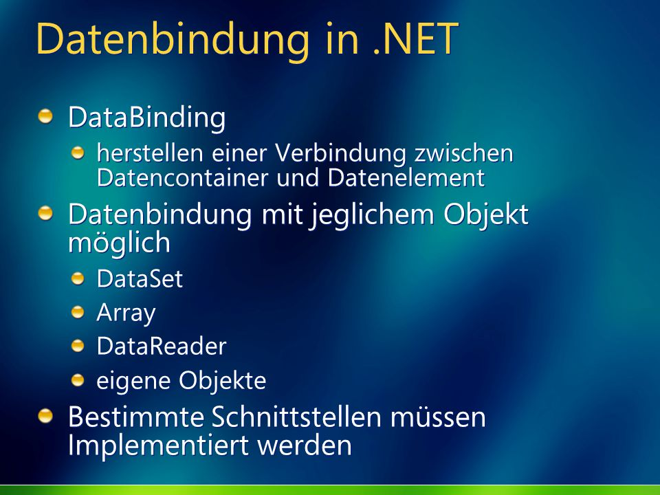 Datenbindung in .NET DataBinding