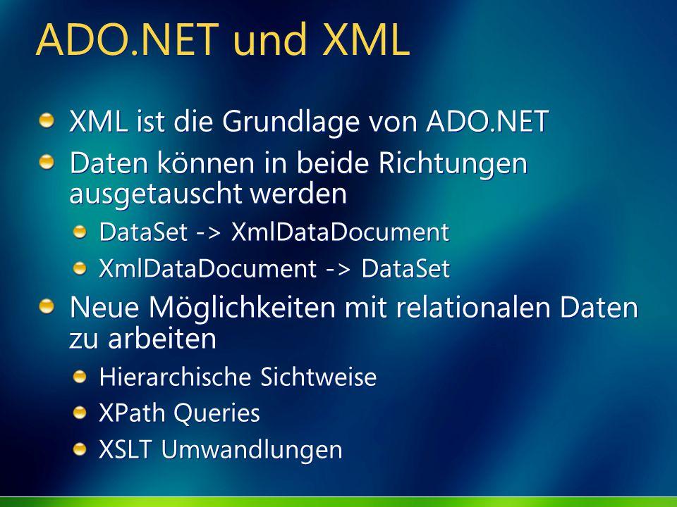 ADO.NET und XML XML ist die Grundlage von ADO.NET