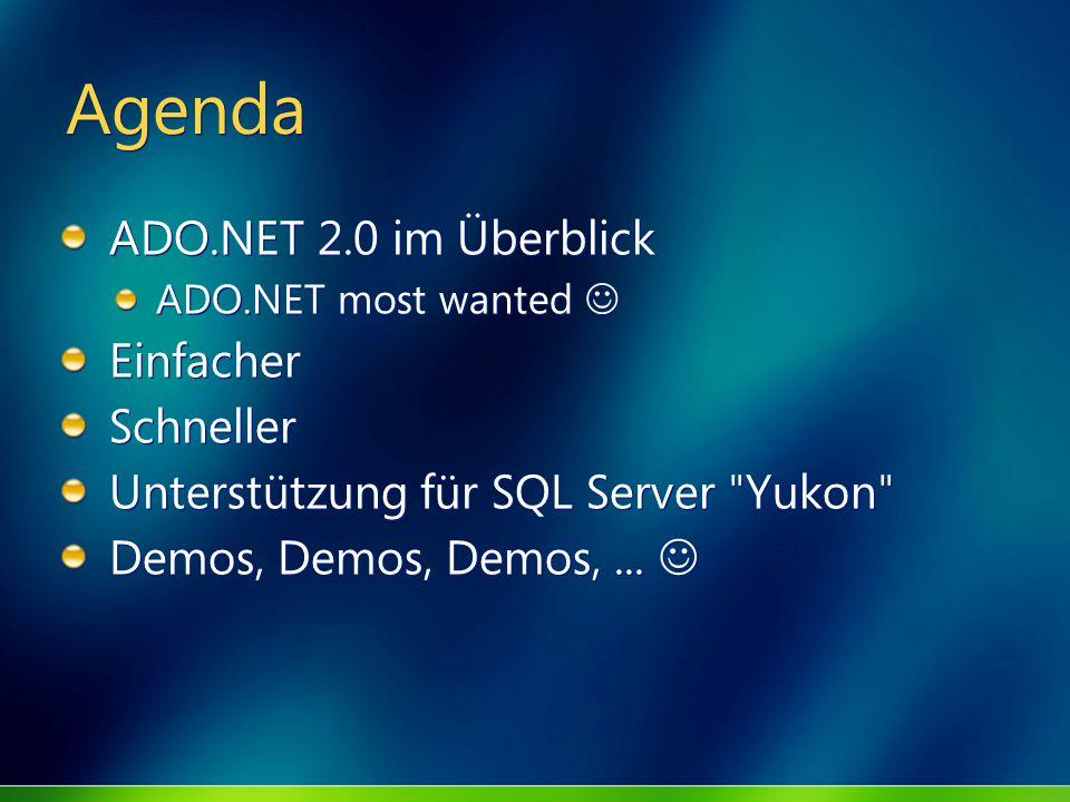 Agenda ADO.NET 2.0 im Überblick Einfacher Schneller