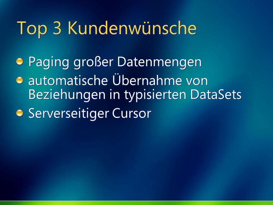 Top 3 Kundenwünsche Paging großer Datenmengen