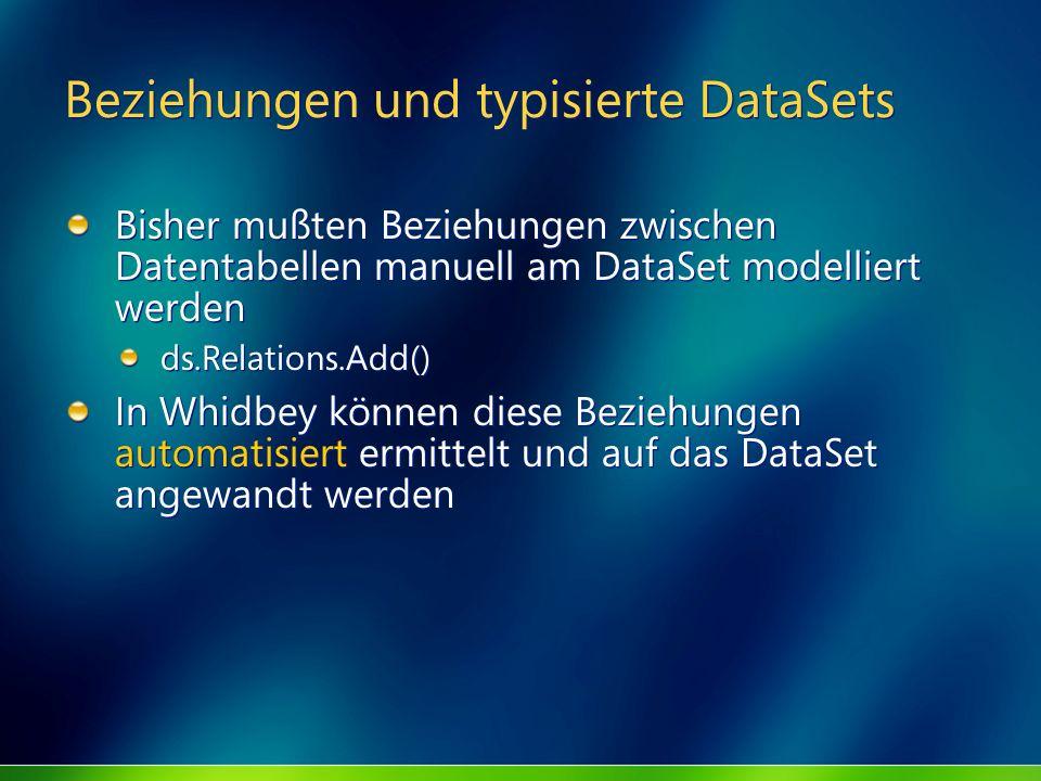 Beziehungen und typisierte DataSets