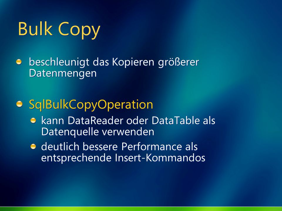 Bulk Copy SqlBulkCopyOperation