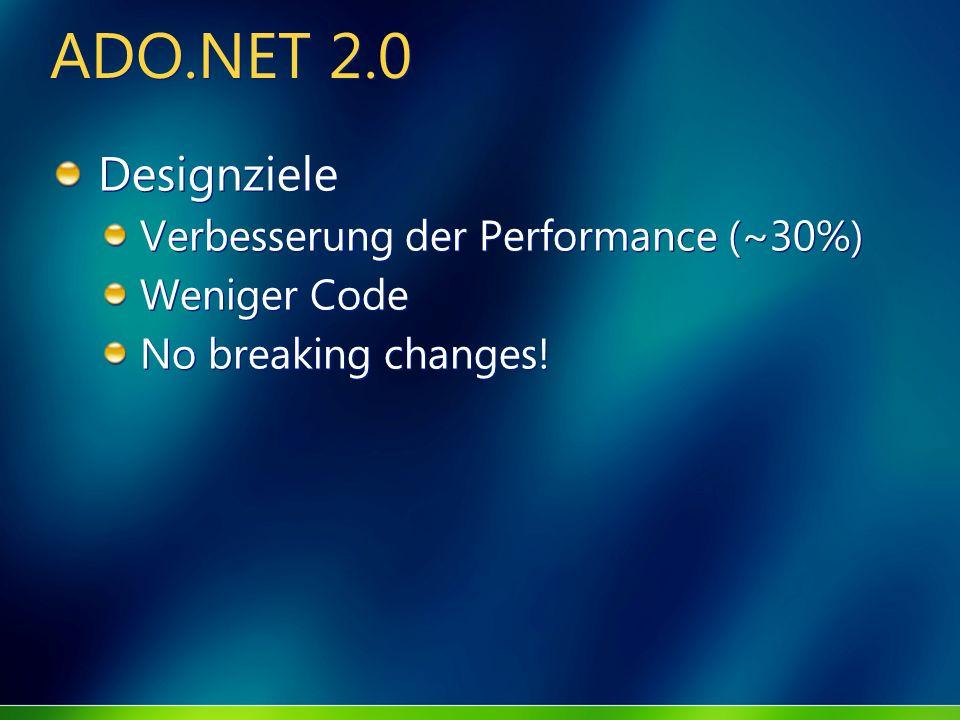 ADO.NET 2.0 Designziele Verbesserung der Performance (~30%)