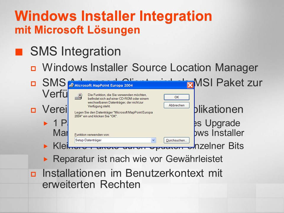 Windows Installer Integration mit Microsoft Lösungen
