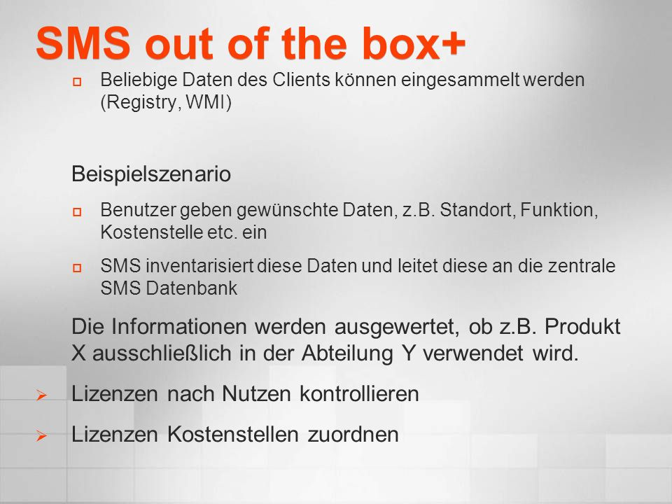 SMS out of the box+ Beispielszenario