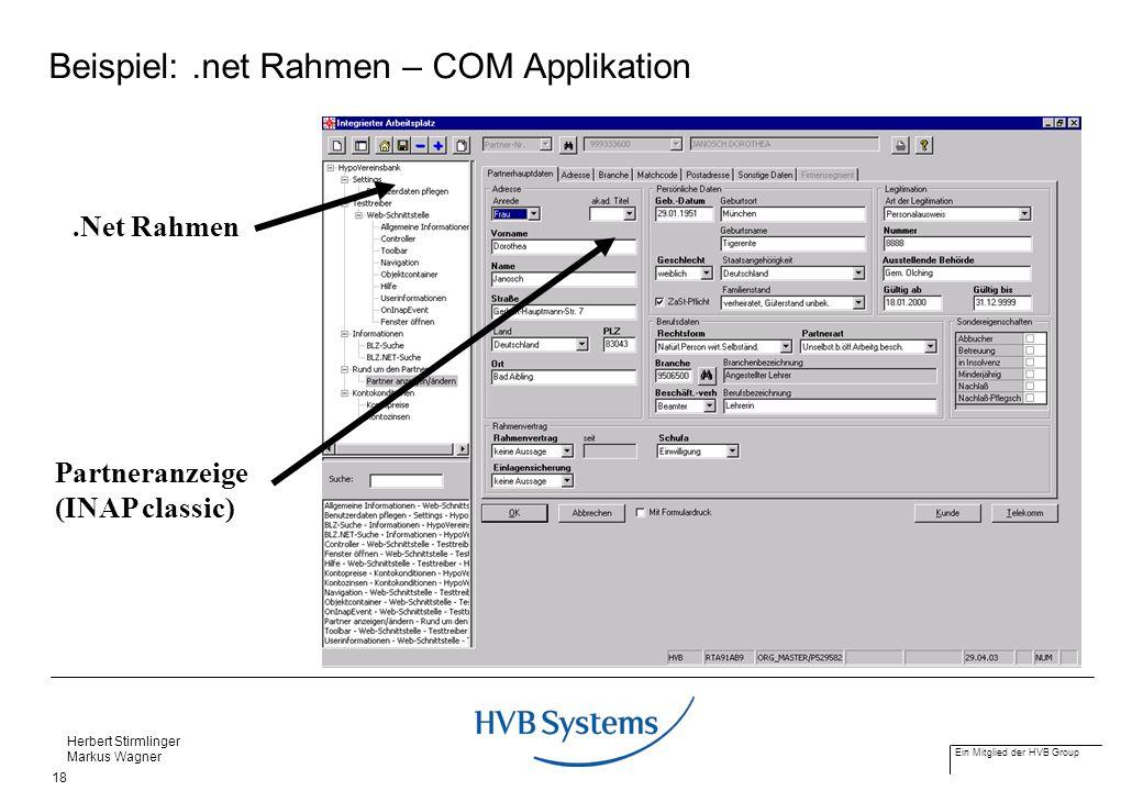 Beispiel: .net Rahmen – COM Applikation