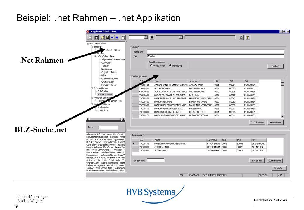 Beispiel: .net Rahmen – .net Applikation