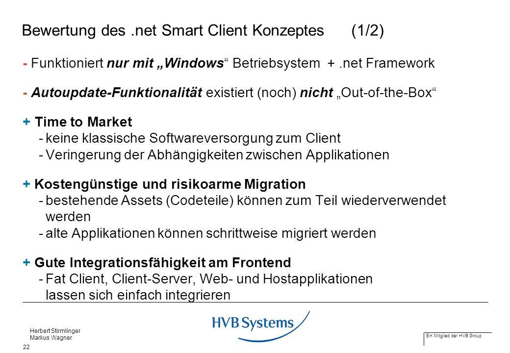 Bewertung des .net Smart Client Konzeptes (1/2)