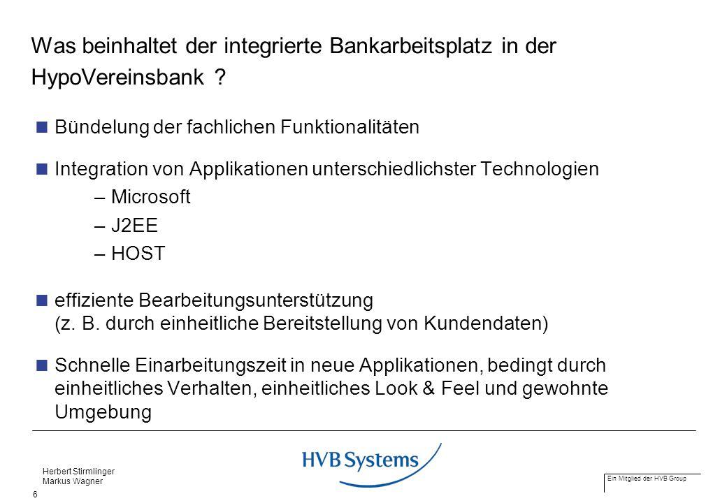 Was beinhaltet der integrierte Bankarbeitsplatz in der HypoVereinsbank