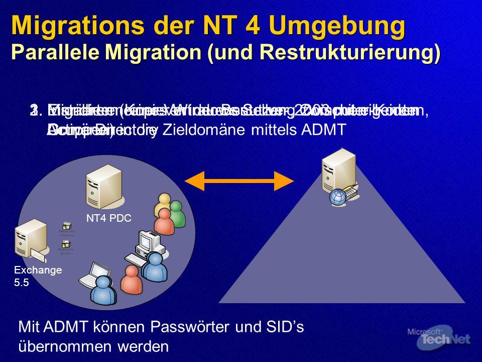 Migrations der NT 4 Umgebung Parallele Migration (und Restrukturierung)