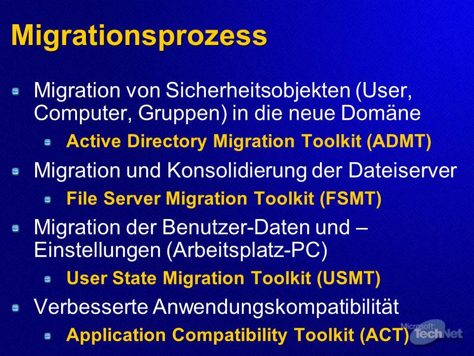 Migrationsprozess Migration von Sicherheitsobjekten (User, Computer, Gruppen) in die neue Domäne. Active Directory Migration Toolkit (ADMT)