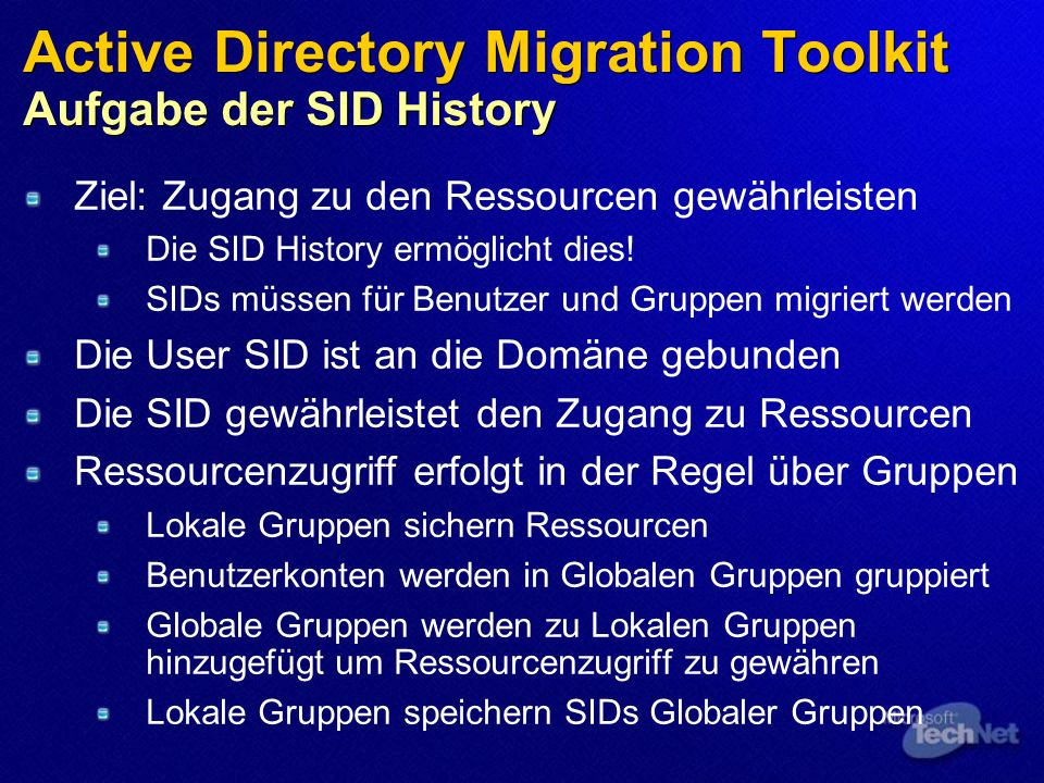 Active Directory Migration Toolkit Aufgabe der SID History