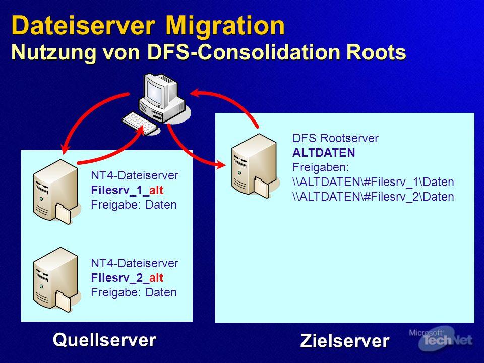 Dateiserver Migration Nutzung von DFS-Consolidation Roots