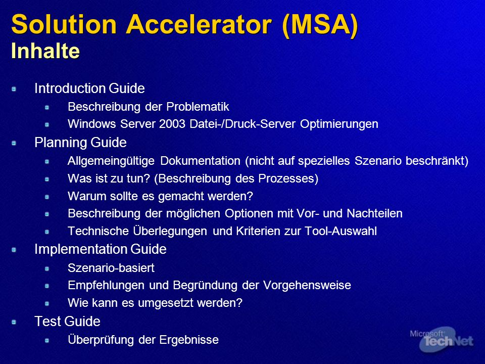 Solution Accelerator (MSA) Inhalte