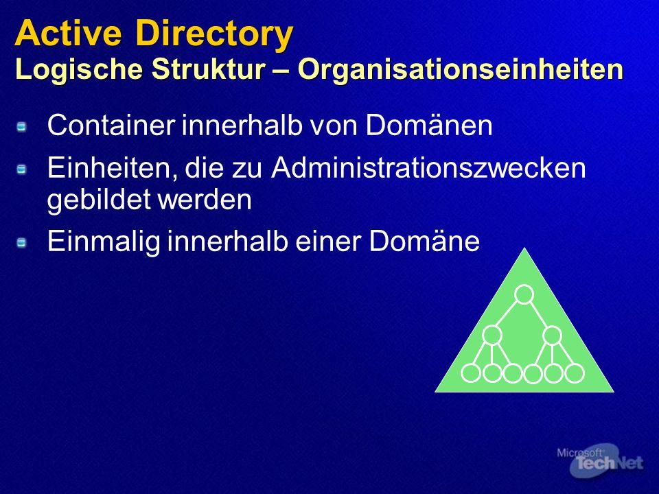 Active Directory Logische Struktur – Organisationseinheiten