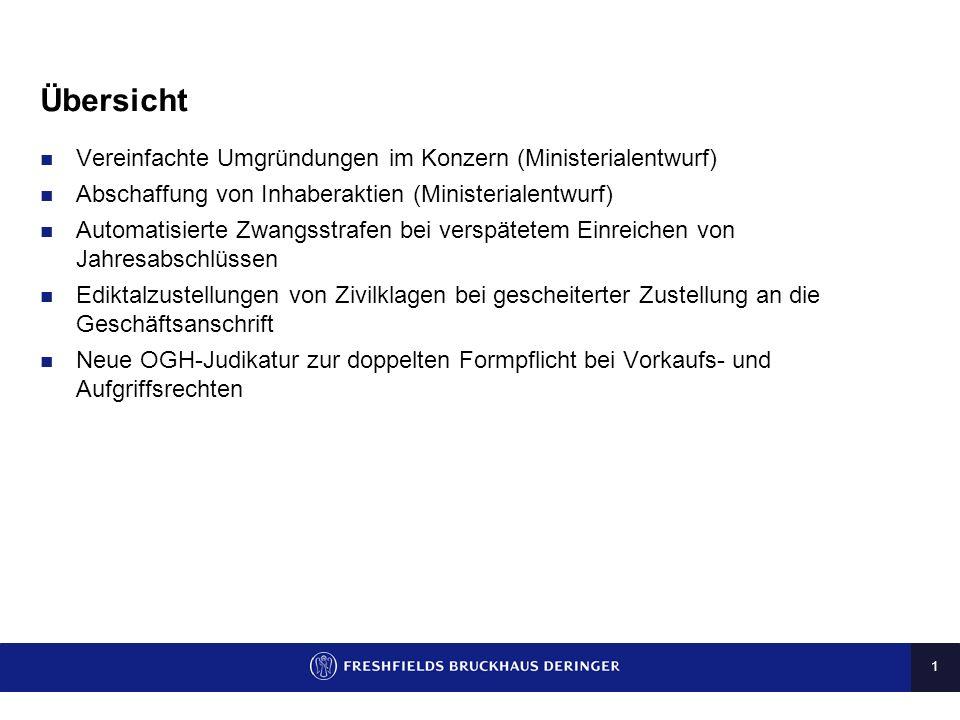 Übersicht Vereinfachte Umgründungen im Konzern (Ministerialentwurf)