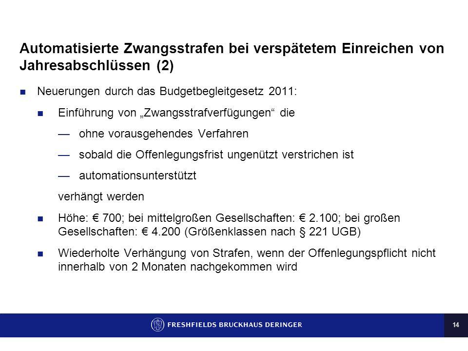 Automatisierte Zwangsstrafen bei verspätetem Einreichen von Jahresabschlüssen (2)