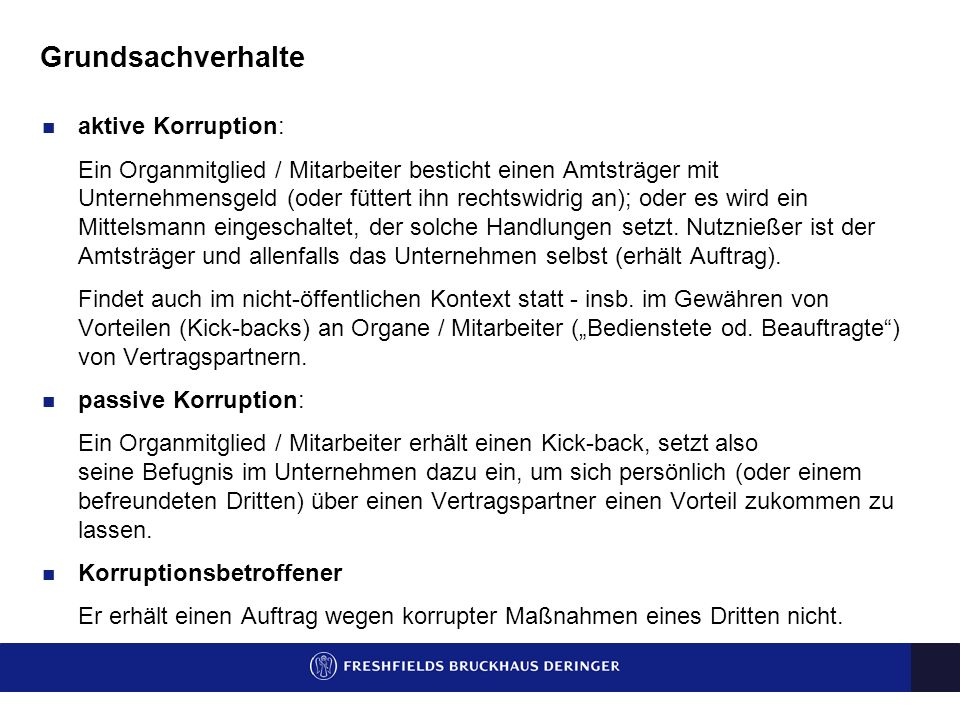 Grundsachverhalte aktive Korruption: