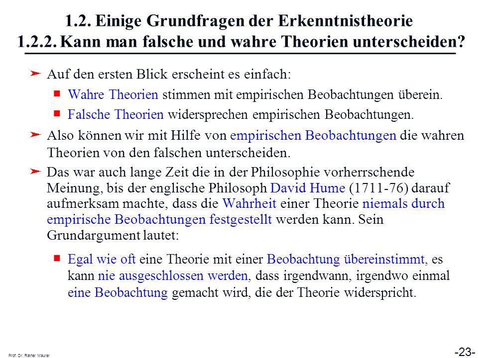 1. 2. Einige Grundfragen der Erkenntnistheorie 1. 2. 2