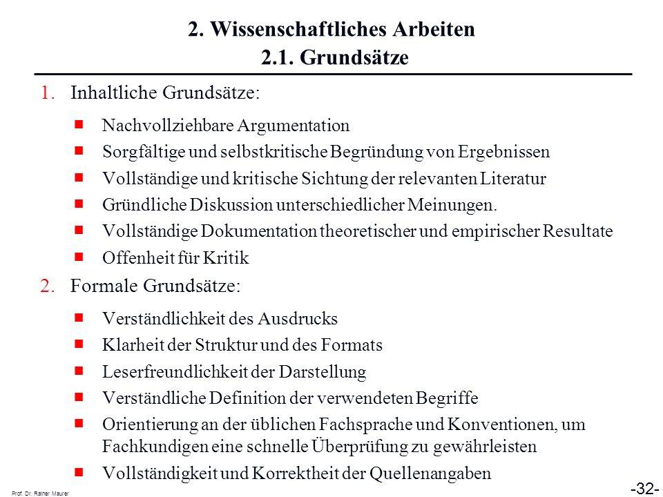 2. Wissenschaftliches Arbeiten 2.1. Grundsätze