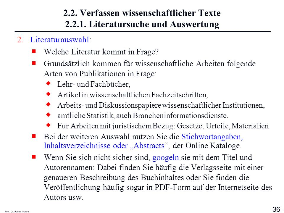 2. 2. Verfassen wissenschaftlicher Texte 2. 2. 1