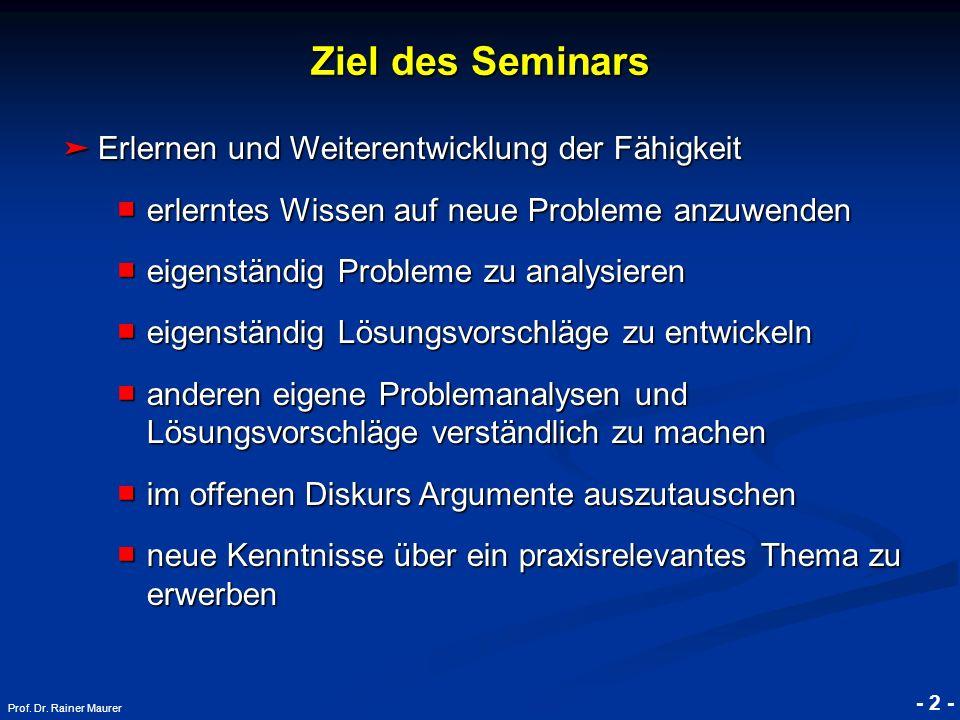 Ziel des Seminars Erlernen und Weiterentwicklung der Fähigkeit