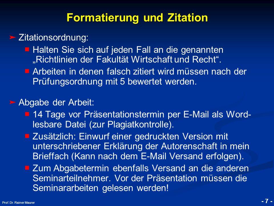 Formatierung und Zitation