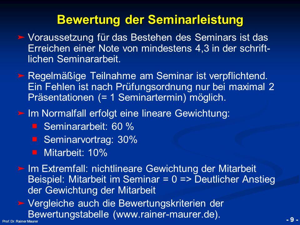 Bewertung der Seminarleistung