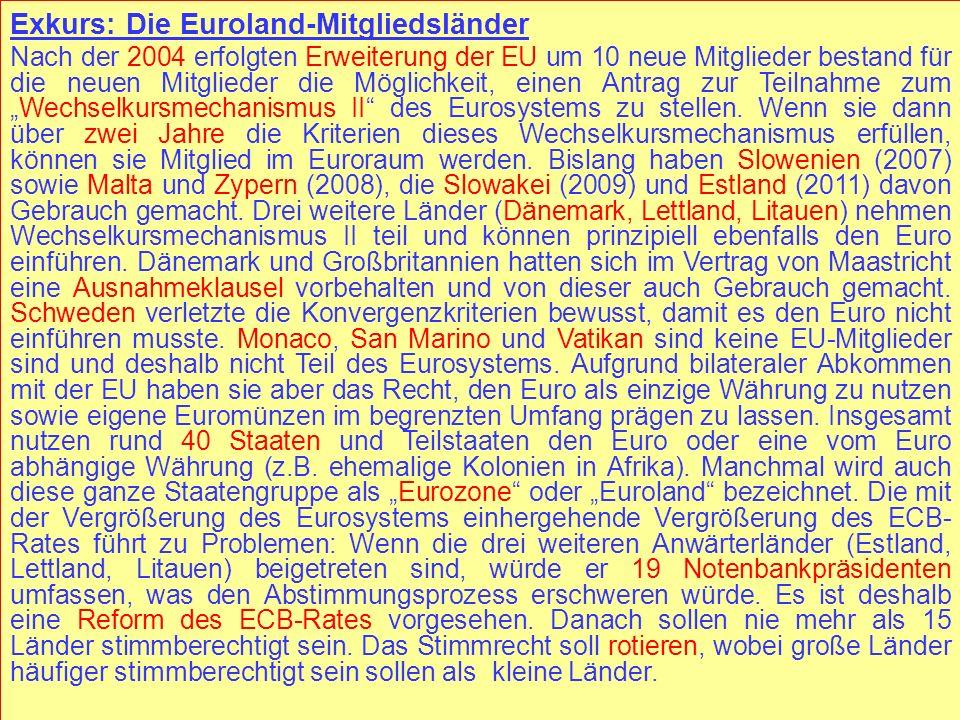 Exkurs: Die Euroland-Mitgliedsländer