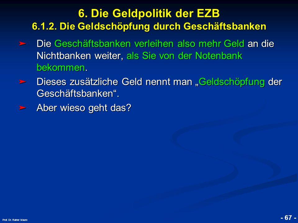 6. Die Geldpolitik der EZB 6. 1. 2