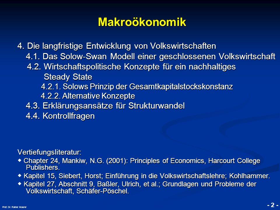 Makroökonomik 4. Die langfristige Entwicklung von Volkswirtschaften
