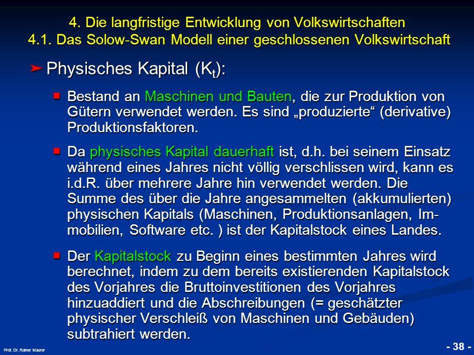 Physisches Kapital (Kt):