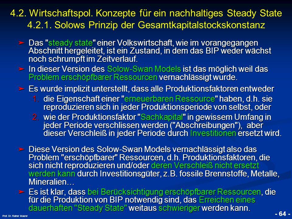 4. 2. Wirtschaftspol. Konzepte für ein nachhaltiges Steady State 4. 2